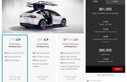 Tesla Model X are un pret incepand de la 80.000 de dolari