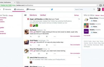 """Twitter a mutat butonul """"Moments"""" pe site si pe versiunea de Android a aplicatiei"""