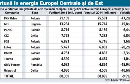 Evoluţia veniturilor înregistrate de cele mai mari companii energetice active în zona Europei Centrale şi de Est