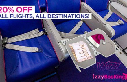 City Break Ieftin pe IzzyBooking.ro! DOAR astazi: 20% reducere zboruri WizzAir