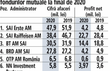 Cele mai mari şase societăţi de administrare de investiţii în 2021: profit net de 50 mil. lei, cu 18,5% mai mic faţă de 2019, la afaceri de 157 mil. lei, minus 7,7%. În privinţa afacerilor, două societăţi au fost pe plus, iar restul pe minus. Primii şase administratori au 25 mld. lei sub gestiune