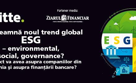 Videoconferinţa Deloitte/ZF Ce înseamnă noul trend global ESG – environmental, social, governance?, 29 iunie. Ce impact va avea noul trend în privinţa sustenabilităţii asupra companiilor din România şi asupra finanţării bancare?