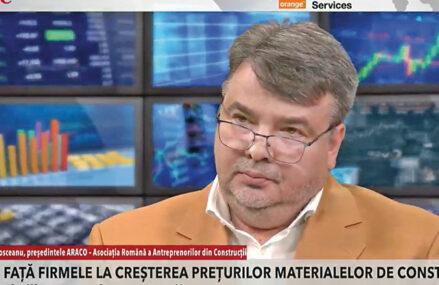 ZF Live. Laurenţiu Plosceanu, preşedintele ARACO – Asociaţia Română a Antreprenorilor din Construcţii. Sectorul construcţiilor e în stare de urgenţă: antreprenorii nu fac faţă creşterii masive a preţurilor materialelor de construcţie şi cer soluţii de la guvern