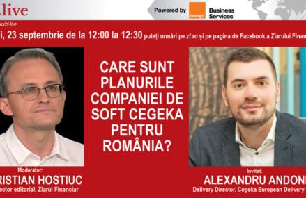 Care sunt planurile companiei de soft CEGEKA pentru România? Cum vrea să atragă angajaţi prin remote work? Urmăriţi ZF Live joi, 23 septembrie 2021, ora 12.00 cu Alexandru Andone, Delivery Director, Cegeka European Delivery Center